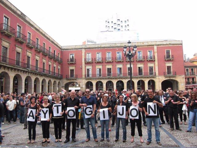 Protestas funcionarios en Gijón