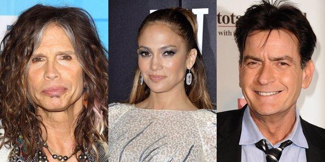 Jennifer Lopez, Steven Tyler y Charlie Sheen