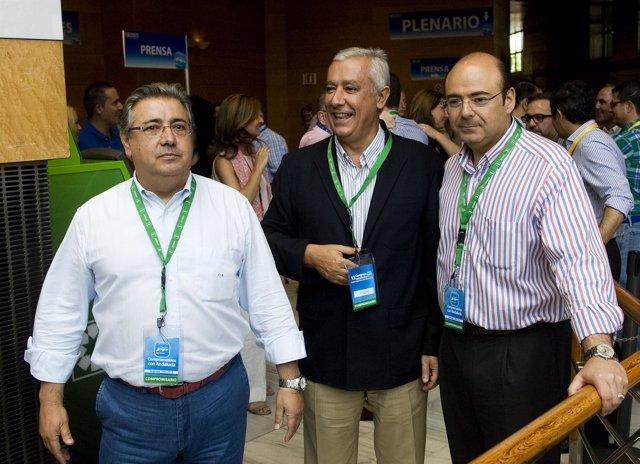 Zoido, Arenas y Pérez visitan las instalaciones del Congreso Regional del PP-A