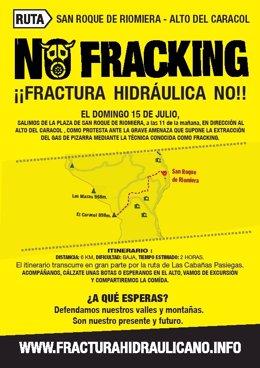 Cartel de la subida al Alto Caracol contra el fracking