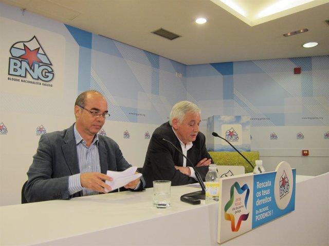 Jorquera y Guillerme Vázquez, en rueda de prensa, BNG