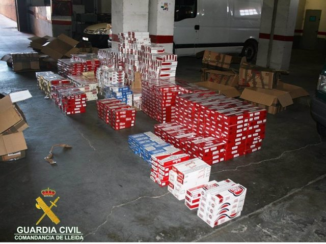 Tabaco decomisado en un polígono de Lleida