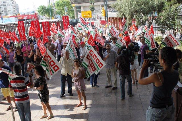 Manifestación de CCCOO y UGT en Málaga