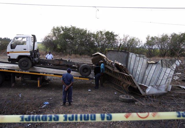 Un camión con vendimiadores es arrollado en Sudáfrica
