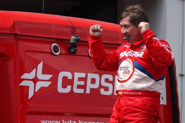 Antonio Albacete tras conseguir la pole en Alemania