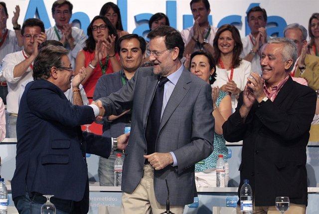 Mariano Rajoy con  Juan Ignacio Zoido y Javier Arenas