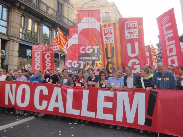 Manifestación En Barcelona Contra Los Recortes Del Gobierno