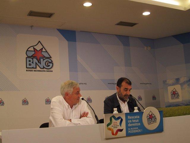 El portavoz del BNG, Guillerme Vázquez, y el diputado Fernando Branco Parga