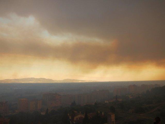 Incendio Del Empordà Visto Desde Figueres