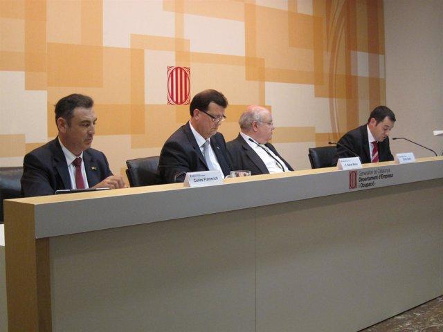 C.Flamerich, el conseller F.X.Mena, E.Colet y Jordi Escalé