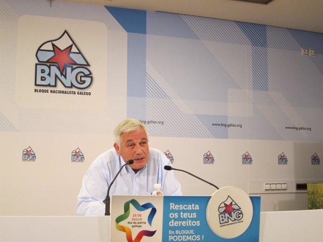 El portavoz del BNG, Guillerme Vázquez, en rueda de prensa