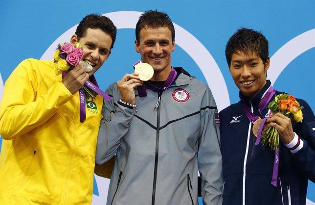 Ryan Lochte tras conseguir su primer oro en Londres