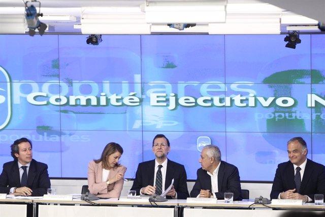 Reunión Del Comité Ejecutivo Del PP Con Arenas, Rajoy Y Cospedal