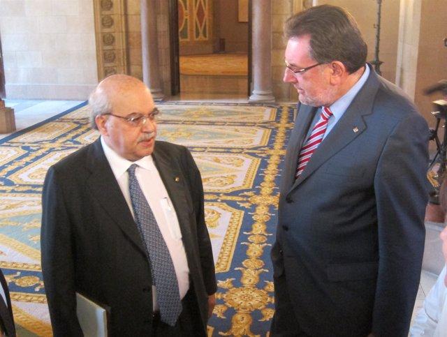 Los Consellers A.Mas-Colell Y Josep Lluís Cleries