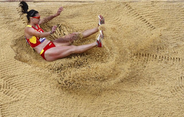 La saltadora española Concha Montaner en los Juegos de Londres