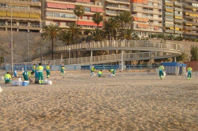 Limpiza De La Playa Del Postiguet
