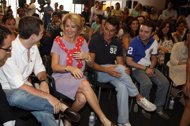 Ángel Carromero, en un acto con Esperanza  Aguirre