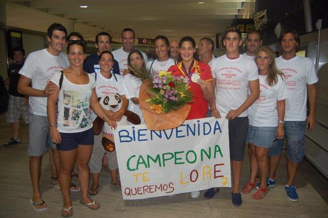 Recibimiento en Sevilla a la subcampeopna olímpica de waterpolo Lorena Miranda