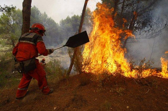 Tareas de extinción en los incendios de Alicante