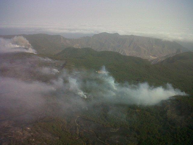 Imagen aérea del incendio de La Gomera