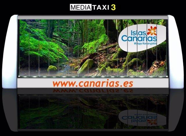 Soporte que llevarán los taxis para promocionar Ias Islas Canarias