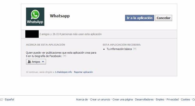 Aplicacion fraudulenta de WhatsApp en Facebook