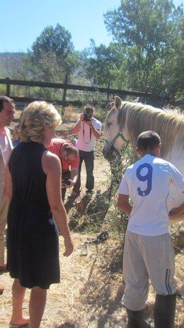 Esperanza Aguirre, en una granja terapeútica