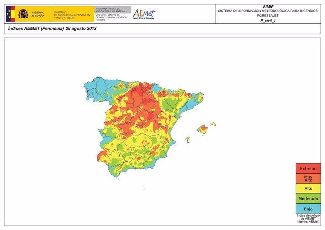 Mapa del riesgo de incendios forestales