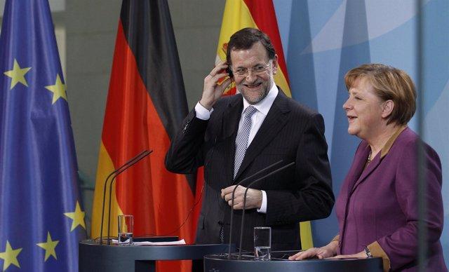 Mariano Rajoy Y Angela Merkel En Berlín
