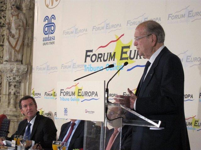 El presidente de la Xunta, Alberto Núñez Feijóo, con Gerardo Fernández Albor