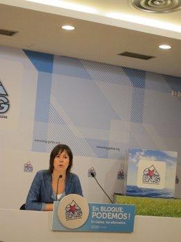 La portavoz parlamentaria del BNG, Ana Pontón, en rueda de prensa