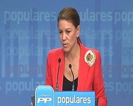 "Cospedal denuncia que Rubalcaba ""anime"" a participar en la marcha ""inconstitucional"" de la Diada"