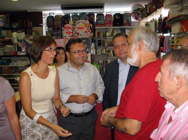 Los socialistas Miguel Ángel Heredia, María Gámez y Enrique Benítez