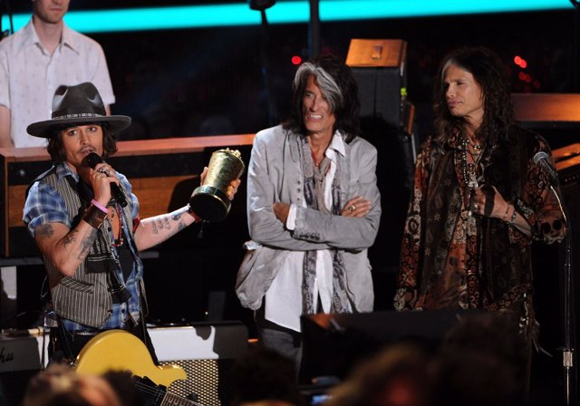 Johnny Depp con Aerosmith