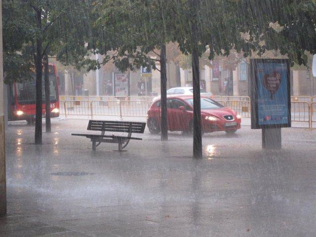 Lluvia fuerte en Zaragoza