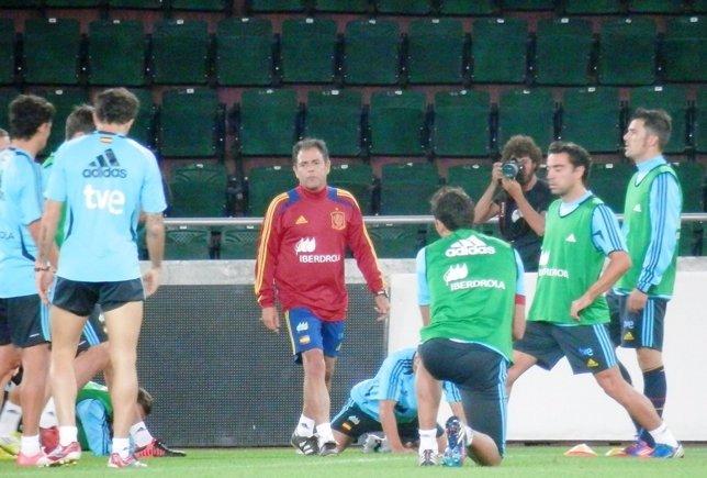 Entrenamiento selección española previa Georgia clasificación Mundial