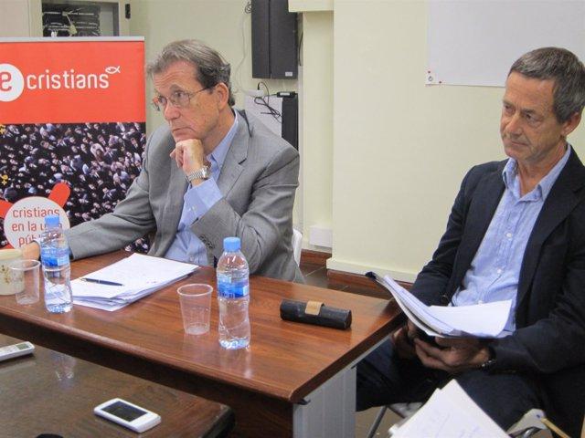 El presidente de E-Cristians, J. Miró, y el abogado C. Barbosa del caso Morín