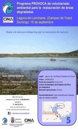 Cartel de la actividad en el Embalse del Ebro