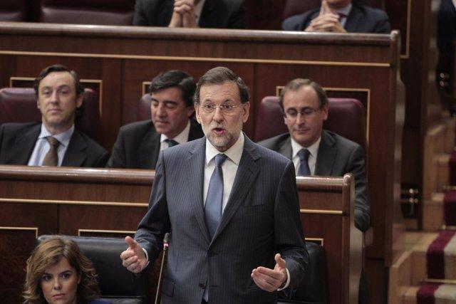 El presidente del Gobierno, Mariano Rajoy, en el Congreso