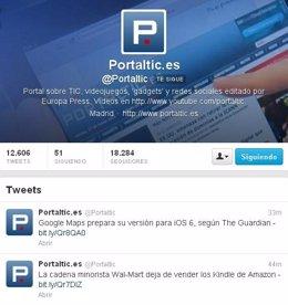 Cuenta de Portaltic en Twitter