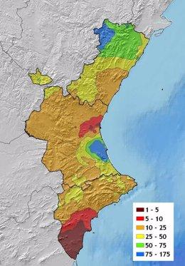 Mapa De Precipitaciones De Este Verano En La Comunitat Valenciana