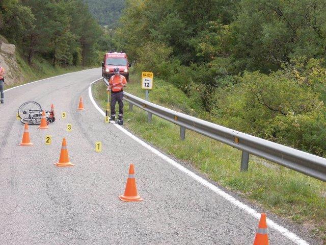 Lugar donde ha resultado herido grave un ciclista.