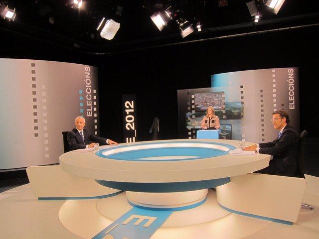 Feijóo y Pachi Vázquez en el plató del debate del 21-O