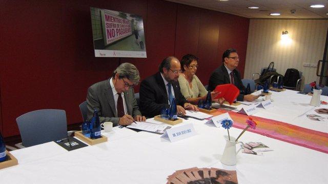 La presidenta de FECMA junto a los oncólogos, para presentar el Manifiesto 2012