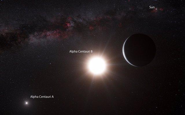 Representación artística del planeta del tamaño de la Tierra en Alpha Centaury