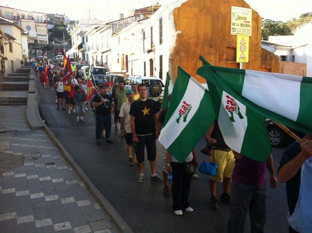 Marcha obrera del SAT por Casabermeja (Málaga)