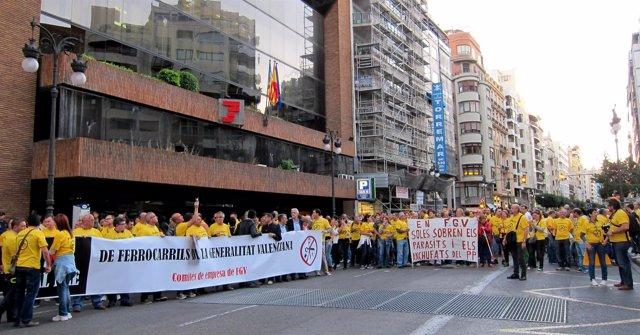 Manifestación Contra El ERE De FGV (imagen de archivo)