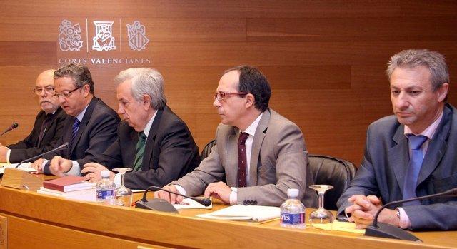 Francisco Martínez. el segundo por la izquierda, en La Comisión De La CAM