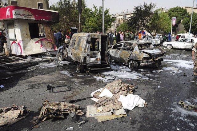 Atentado con coche bomba en el centro de Damasco