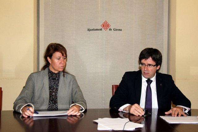 La concejal Marta Madrenas y el alcalde de Girona, Carles Puigdemont